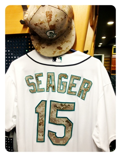 Mariners hat and uniform for Memorial Day.
