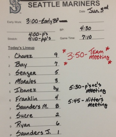 Mariners lineup for tonight's game vs. the White Sox.