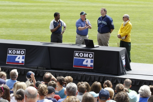 KOMO 4's Steve Pool, Ted Buehner of the National Weather Service, KOMO's Scott Sistek and Department of Natural Resources firefighter Charley Burns addressed students at Safeco Field's 7th Annual Weather Education Day.