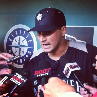 Mike Zunino met with the Seattle media before suiting up for his first Major League game.