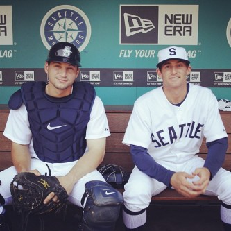 Mike Zunino & Brad Miller in their Seattle Turks throwback uniforms.