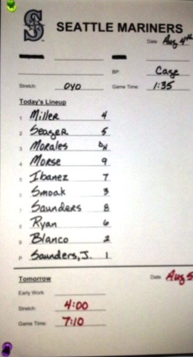 08.04.13 Mariners Line-Up