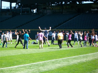 Mariners players, including Brad Miller, Nick Franklin, Charlie and Michael Morse, led kids through exercises.