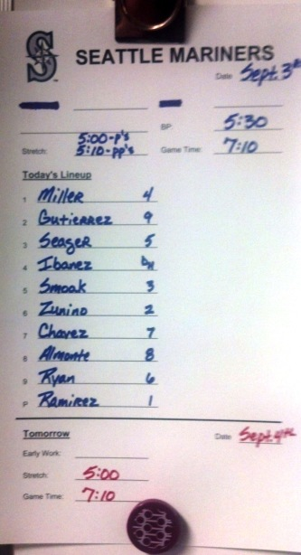 Tuesday's Mariners Line-Up