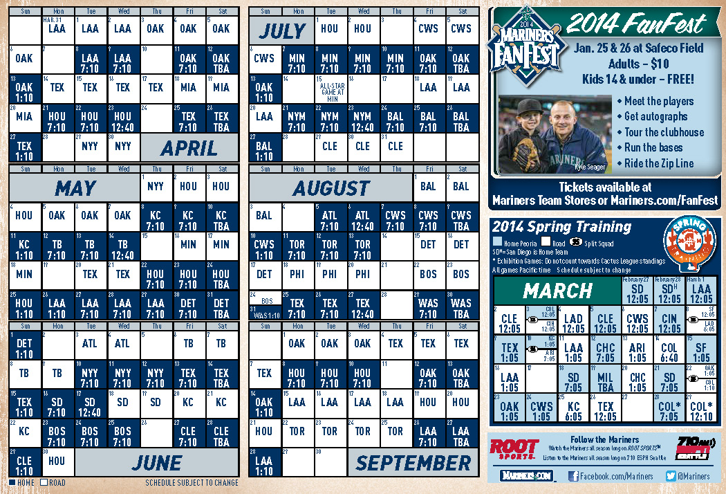 photograph about Seattle Mariners Printable Schedule referred to as Plan Against the Corner of Edgar Dave
