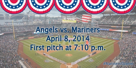 The Mariners 2014 Home Opener vs. the LA Angels is April 8 at 7:10 pm at Safeco Field.