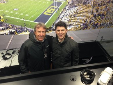 Former college football coach Gary Barnett and Aaron after calling the Texas A&M at LSU game in Baton Rouge.