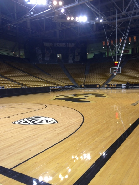 Aaron will call several college basketball games, including several stops in the Pac-12 (Coors Events Center in Boulder, CO pictured).