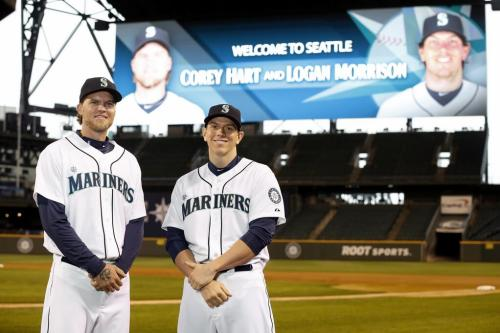 The newest additions to the Seattle Mariners, Corey Hart and Logan Morrison.