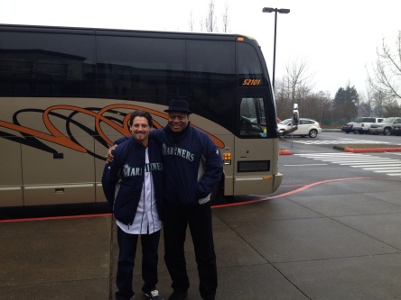 Danny Farquhar and Dave Sims before the start of the caravan.