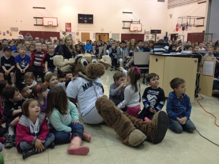 The Mariners Moose watched the highlight video with students.