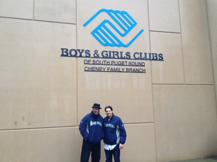 Dave Sims and Danny Farquhar at the Boys & Girls Club in Gig Harbor.