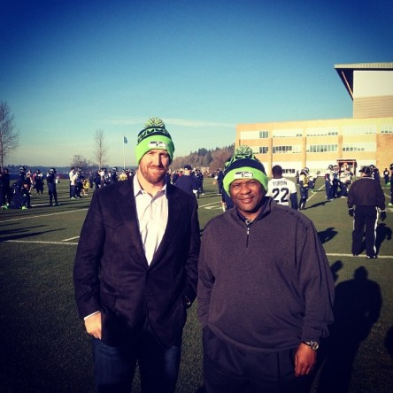 John Buck and Lloyd McClendon at today's Seahawks practice.