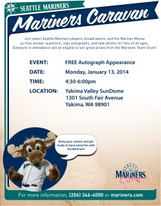 Mariners players, broadcasters and the Mariner Moose head to Yakima to meet fans, sign autographs, take photos and more. See you there!