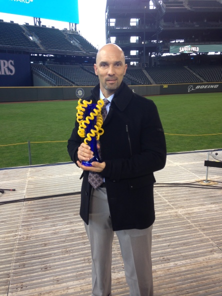Raul Ibanez was presented with the 2014 Hutch Award this afternoon at Safeco Field.
