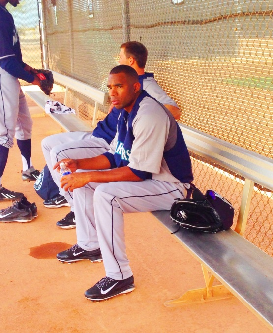Endy Chavez takes a break after live BP.