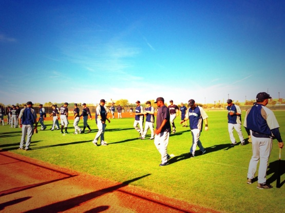 Efficient workout for the Mariners began with stretching on field three.