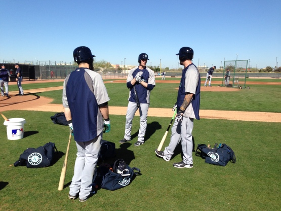 Michael Saunders, Corey Hart and Dustin Ackley get ready to face James Paxton.