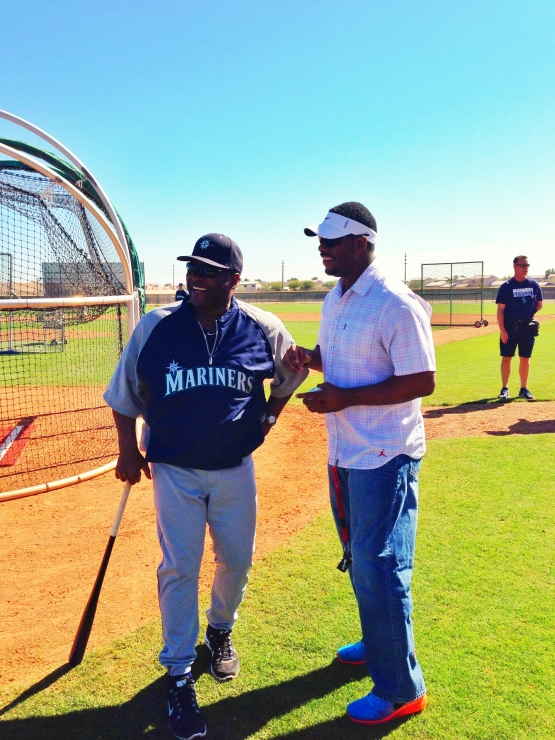 Ken Griffey Jr. shares a laugh with Manager Lloyd McClendon.