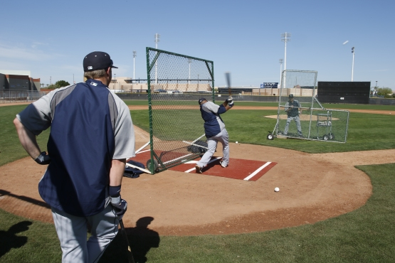 Robinson Cano introduces Justin Smoak to the Net Drill.