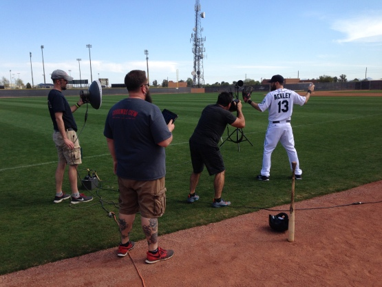 Dustin Ackley poses for a Rawlings photo shoot.