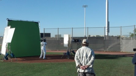 Robinson Cano filming a commercial for MLB.