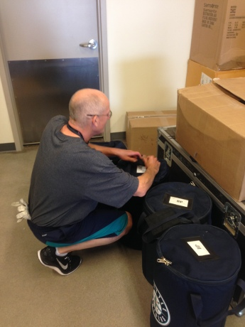 Billy Sepich works on getting things packed up as Spring Training comes to a close.