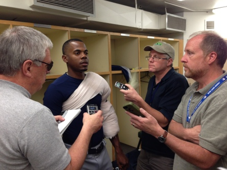 Roenis Elias talks to the media after an impressive performance against the Angels.