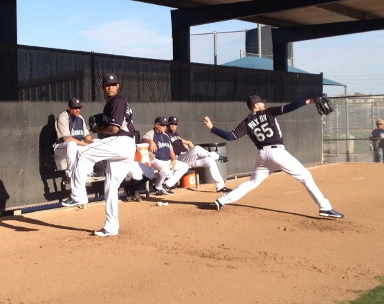 Felix Hernandez and James Paxton get their bullpens in during today's workout.