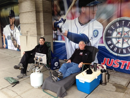 Greg Holbron and Tom Nostrant are first and second in line for Mariners single game tickets.