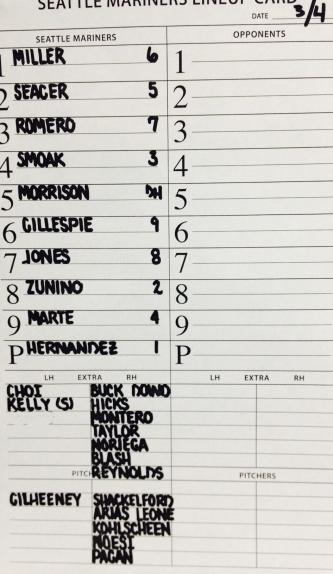 The neat handwriting on the lineup card is by bench coach Trent Jewett.