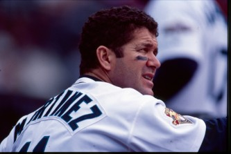 Edgar Martinez arrived in camp today to work with Major and minor leaguers.
