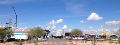 A carnival outside the gates of Goodyear Ballpark.