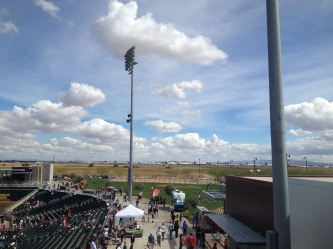 Airplanes (lots of them) in the distance as seen from Goodyear Ballpark.