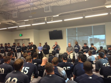 Mariners minor league players during a presentation for the players of the year this morning.