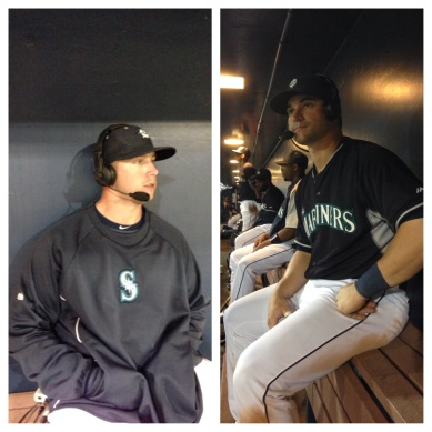 Justin Smoak (r) and Mike Zunino (l) took time to check in with the ROOT Sports broadcast.