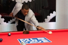 Shooting some pool at the MLB Fan Cave.