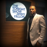 Preparing to join Jimmy Fallon on set.