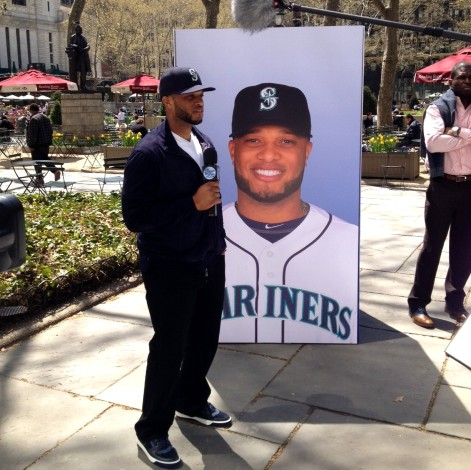 Robinson Cano shooting a bit on the streets of NYC for The Tonight Show with Jimmy Fallon.