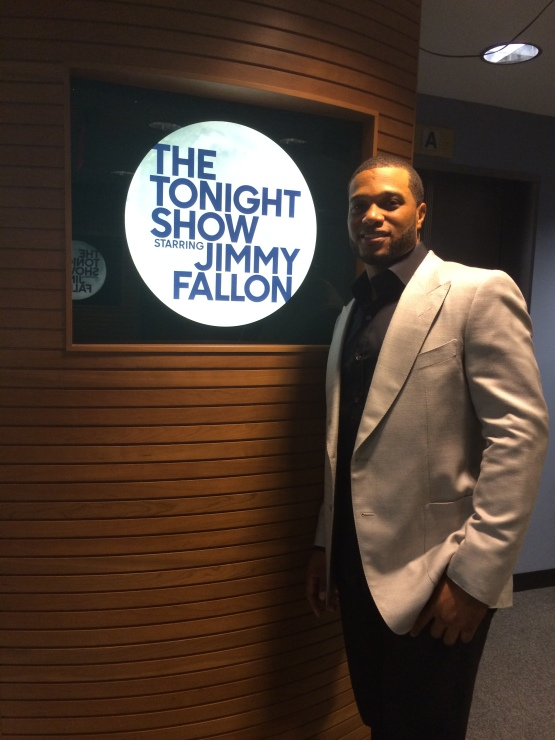 Getting ready to join Jimmy Fallon on stage.
