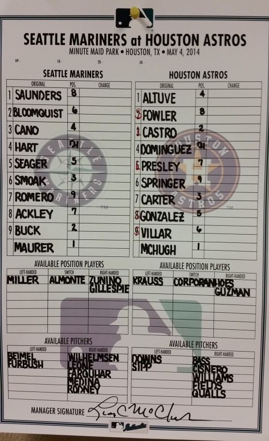 Sunday Mariners Line-up