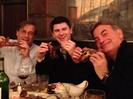 Kevin Cremin is always up for a good meal with Rick Rizzs and Aaron Goldsmith.