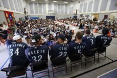 Felix Hernandez, Taijuan Walker, Robinson Cano, Brad Miller, Mike Zunino and Stefen Romero at Burien's Hilltop Elementary School.