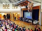 John Buck entertains the students at South Shore School.
