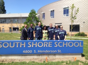 Dave Sims, James Jones, Chris Young, Michael Saunders, John Buck and Willie Bloomquist at South Shore School