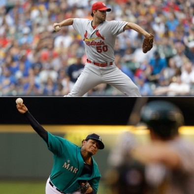 The starting pitchers for the 2014 All-Star game, Adam Wainwright and Felix Hernandez.