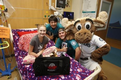 Brandon Maurer, Hisashi Iwakuma and the Mariner Moose visited Tacoma's Mary Bridge Children's Hospital today.