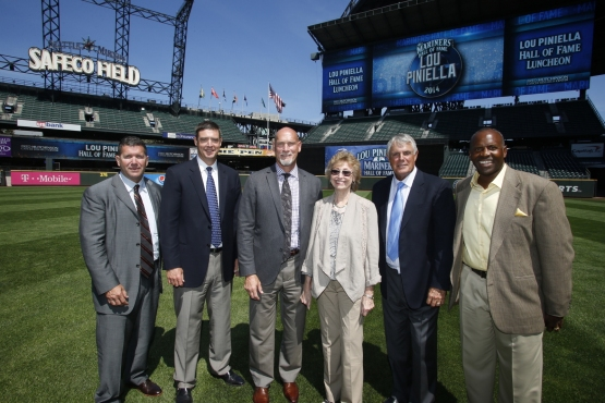 Members of the Seattle Mariners Hall of Fame welcome newest member Lou Piniella
