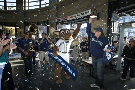 Brian Grimm of Asotin, Washington, is the two millionth fan to pass through the gates of Safeco Field this season.