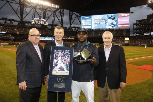 Fernando Rodney was presented with a Fireman's Hat for setting the Mariners single-season saves record.